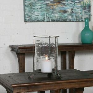 """NICIA FARMHOUSE INSPIRED XL 14"""" AGED META HAMMERED GLASS CANDLE HOLDER UTTERMOST"""