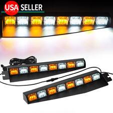 "2x 48W Amber/White Windshield LED Emergency Strobe Light 17"" Roof Marker Lights"