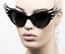 Oversized Cat Eye Sunglasses Feather Wings Vintage Style Black White Silver K700