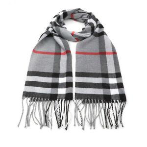 Mens Classic Tartan Scarf Scottish Checks Wool Blend Plaid Wrap Unisex Gift