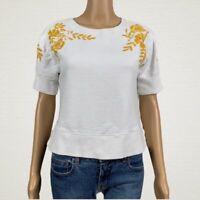 Anthropologie Maeve Embroider Vineland Sweatshirt Top XS White Gold Floral Crop