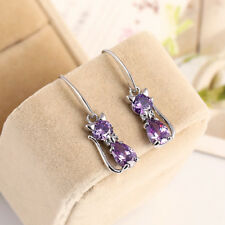 Chic Rhinestone Crystal Cat Pendant Earrings Cute Women Girls Jewelry Present