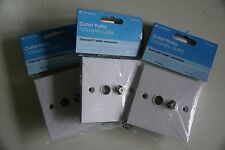 3 Pcs Philex Wallplate Twin 19125HC with Coaxial TV  And F-Type  Satellite/Cable