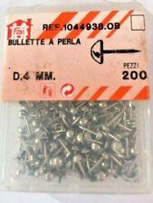 200 Bullette a perla D.4 mm nichelate tappezziere puntine tappezzeria bulletta