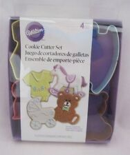 Wilton Cookie Cutter Cutters Metal Set Lot of 4 Baby Carriage Bear Horse etc