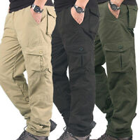 Fashion Mens Winter Fleece Lined Casual Army Cargo Combat Work Pants Trousers