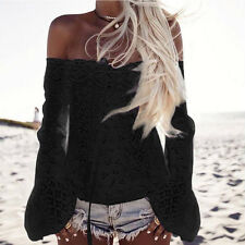 Women Off Shoulder Long Sleeve Tee Lace Loose Blouse Tops Lacing Hollow T-Shirt