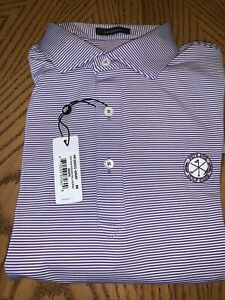 Men's Turtleson Golf Shirt - Medium - Purple/White Stripe - Pete Dye Golf Club