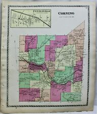 D.G. BEERS & COMPANY ATLAS STREET MAP TOWN OF CORNING NEW YORK 1873 STEUBEN CO.