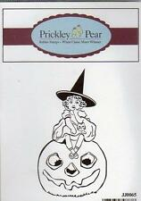 New PRICKLEY PEAR RUBBER STAMP  HALLOWEEN VINTAGE WITCH ON PUMPKIN
