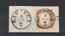FRANCOBOLLI 1862 SARDEGNA 10 C. BRUNO ROSSASTRO SAMBUCA Z/68