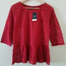 NEXT WOMENS RED LACE PEPLUM TOP SIZE 12 EUR 40