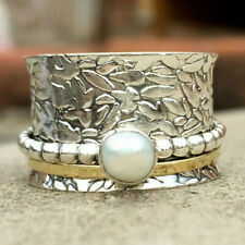 Pearl Ring 925 Sterling Silver Spinner Ring Meditation Statement Jewelry mi5250