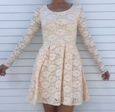 FREE PEOPLE Long Sleeve Ivory Lace Skater Dress Sexy Size Xs