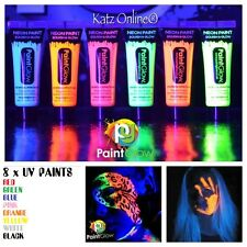 Katz 8 x UV Paint Glow Neon Fluorescent Face & Body Paint 10ml 8 TUBES OF PAINTS