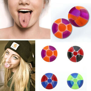 Suction Hold Illusion UV Design Beach Ball Tongue Stud Fake Piercing 4 Color Set