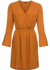 Kleid in Wickeloptik Gr. 42 Bronze Damen Mini-Dress Langarm Freizeitkleid Neu