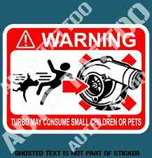 TURBO WARNING MAY CONSUME DECAL STICKER HUMOUR FUNNY NOVELTY CAR DECAL STICKERS