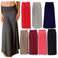 Womens New Ladies Turn Up Waist Long Plain Jersey Flared Maxi Skirt Plus Size