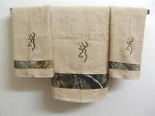 Embroidered ~CAMO BROWNING DEER~ Set of 3 Hunting Bath & Hand Towels
