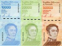 Venezuela Banknoten 50000 20000 10000 Bolivares 2020 Set 3 Geldscheine Südamerik