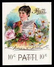 Patti Cigars - c1900 Printers Proof Cigar Box Label RARE London Ontario Canada