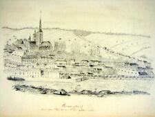 Original dessin Mine de plomb Vue d'Evreux par Felix Benoist daté 1852