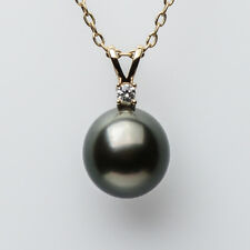 AAA 9.2mm Natural Green Genuine Tahitian Sea Pearl Pendant 14k Yellow Gold