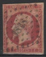 "FRANCE STAMP YVERT 18 SCOTT 21 "" NAPOLEON III 1 F LAKE 1853"" USED RESTORED  M442"