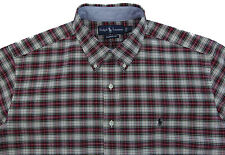 Men's RALPH LAUREN Ecru Red Black Plaid Oxford Shirt XL Extra Large NWT NEW Nice