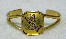 REED & BARTON Fashion Jewelry DAMASCENE CUFF BRACELET butterflies Goldtone