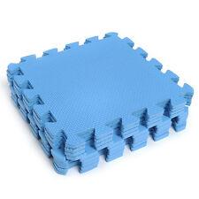 9pcs Interlocking EVA Soft Foam Exercise Floor Mats Gym Garage House Blue Tiles