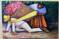 Diego Rivera painting oil on canvas signed and stamped hand carved