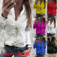 Women VNeck Button Printing Button Long Sleeve TShirt Tops Blouse Basic Tee EL