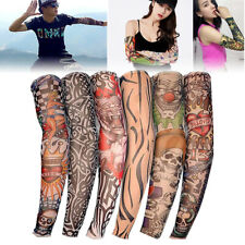 6 Pcs Fake Nylon Temporary Tattoo Sleeves Arm Stockings Tatoo For Cool Men Women