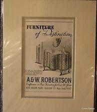 Vintage Advert mounted ready to frame A & W Robertson Glasgow Funiture 1950's
