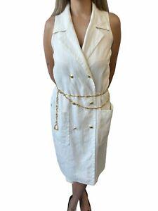 GUCCI Vintage GG Logo Sleeveless Dress Chain Belt #44 Linen Ivory RankAB