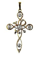 ANTIQUE OLD MINERS CUT DIAMOND LARGE CROSS PENDANT 18k SOLID GOLD 1.3CTW SI 1,2
