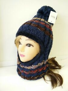 2 In 1 Lady Women Knit Winter Warm Hat Scarf Double Layer
