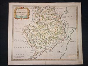 1695 ORIGINAL MAP County of MONMOUTH Robert Morden HAND COLOUR Engraved FOLIO