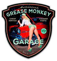 GREASE MONKEY GARAGE SHAPED HILDEBRANDT METAL SIGN PINUP HAND SIGNED FREE PRINT
