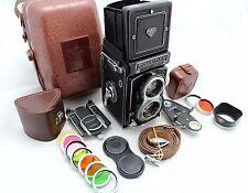 Rolleiflex T vintage 6x6 camera, lens Zeiss Tessar 3.5/75 & Rollei Metal Case