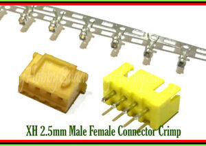 JST XH 2.5 4-Pin Yellow Color Male Female Connector Socket Crimp Contact Pin x50