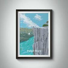 More details for pulpit rock preikestolen norway travel poster - framed - bucket list prints