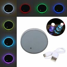 Rechargeable Cup Holder Bottom Pad Mat RGB LED Light Trim For All Cars models