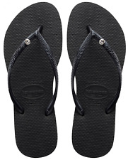Original HAVAIANAS Slim Crystal Glamour Swarovski Flip Flops - Size 3 4 5 6 7 8