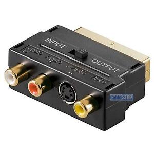 GOLD SCART to RED WHITE YELLOW 3 RCA PHONO AUDIO VIDEO & 4 pin AV TV ADAPTER