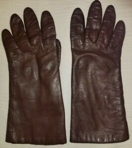 Women's Vintage FOWNES Brown Leather Gloves Size 7