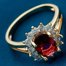 ❤️Ring Size P 9ct Gold Over Ruby & Diamond ❤️ Oval Cluster UK FREE Post Slver❤️