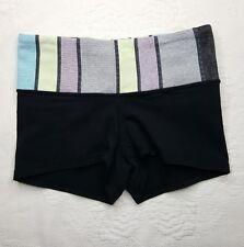 LULULEMON Shorty Boogie Shorts -Womens Sz 2- Black Striped Band Yoga Run EUC!